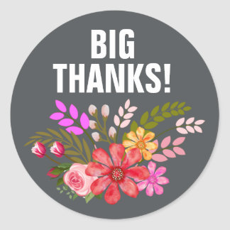 Vintage Folklore Floral Thank You yellow charcoal Round Sticker