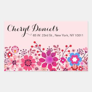 Vintage Folklore Flower Garden | pink fuschia Rectangular Sticker