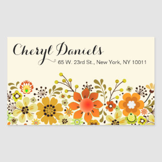 Vintage Folklore Flower Garden yellow Rectangle Sticker