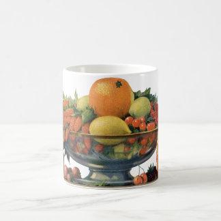 Vintage Food, Assorted Fruit in a Bowl Basic White Mug