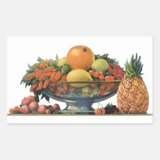Vintage Food, Assorted Fruit in a Bowl Rectangular Sticker