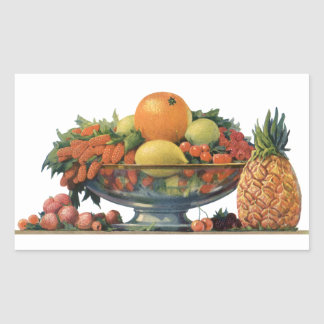 Vintage Food, Assorted Fruit in a Bowl Rectangle Sticker