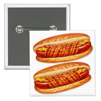 Vintage Food Bacon Wrapped Hot Dogs 15 Cm Square Badge