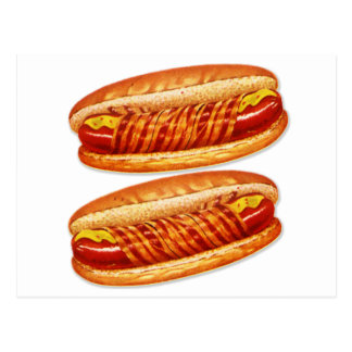 Vintage Food Bacon Wrapped Hot Dogs Postcard