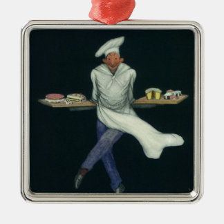 Vintage Food, Baker with Desserts and Pastries Silver-Colored Square Decoration