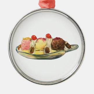 Vintage Food Desserts, Banana Split Cherries Christmas Ornament