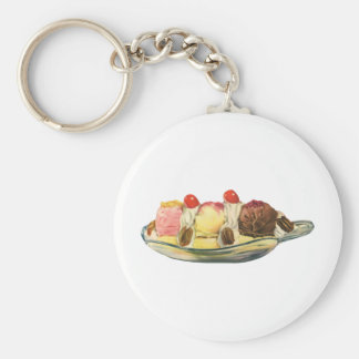 Vintage Food Desserts, Banana Split Cherries Key Ring