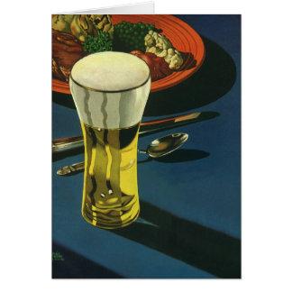 Vintage Food Drinks, Glass of Beer, Dinner Card