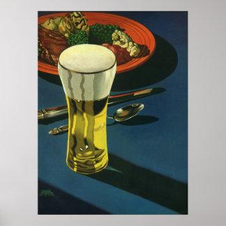 Vintage Food Drinks, Glass of Beer, Dinner Poster