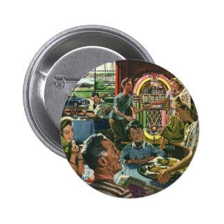 Vintage Food, Family Dinner Meal Diner Restaurant 6 Cm Round Badge