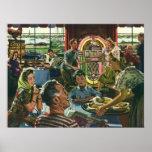 Vintage Food, Family Dinner Meal Diner Restaurant Poster