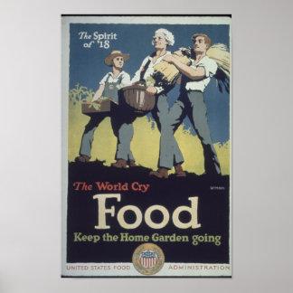 Vintage Food Farmer Propaganda for WWII Poster
