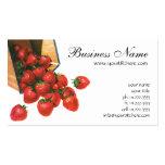 Vintage Food Fruit Berries, Strawberries in Basket Pack Of Standard Business Cards