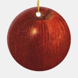 Vintage Food Fruit, Organic Red Delicious Apple Round Ceramic Decoration