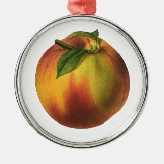 Vintage Food Fruit, Ripe Organic Peach with Leaf Christmas Ornament