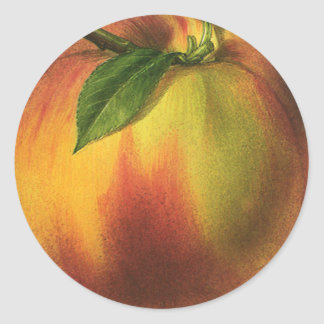 Vintage Food Fruit, Ripe Organic Peach with Leaf Round Sticker