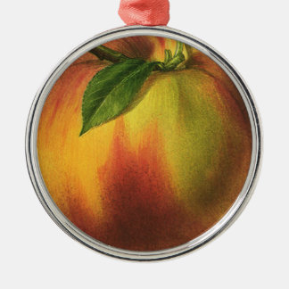 Vintage Food Fruit, Ripe Organic Peach with Leaf Silver-Colored Round Decoration