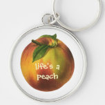 Vintage Food Fruit, Round Ripe Peach with Leaf Keychains