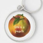 Vintage Food Fruit, Round Ripe Peach with Leaf Keychains