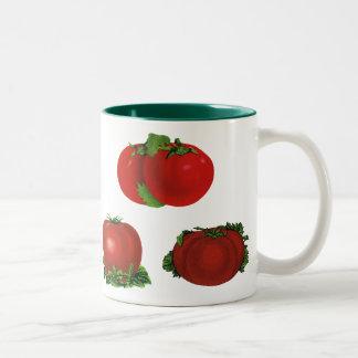 Vintage Food, Fruits, Vegetables, Red Ripe Tomato Two-Tone Mug