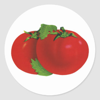 Vintage Food, Fruits, Vegetables, Red Ripe Tomato Classic Round Sticker