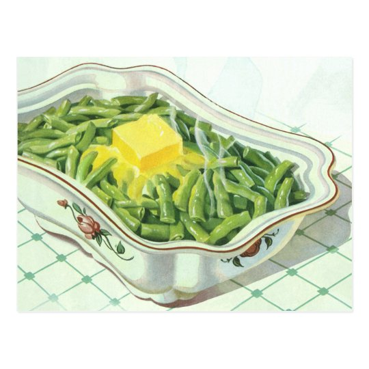Vintage Food, Green Bean Casserole with Butter Postcard