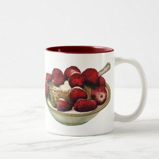 Vintage Food Healthy Breakfast Cereal Strawberries Two-Tone Mug
