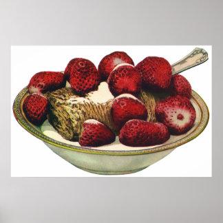 Vintage Food Healthy Breakfast Cereal Strawberries Poster