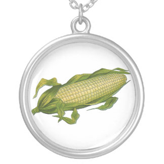 Vintage Food, Healthy Vegetables, Corn on the Cob Silver Plated Necklace