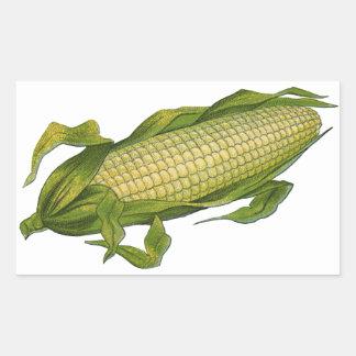 Vintage Food, Healthy Vegetables, Corn on the Cob Rectangular Sticker
