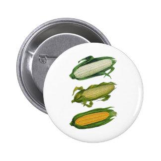 Vintage Food Healthy Vegetables, Fresh Corn on Cob 6 Cm Round Badge