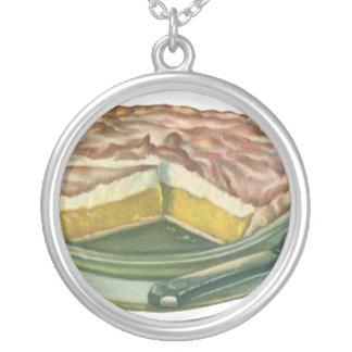 Vintage Food, Lemon Meringue Pie Dessert Silver Plated Necklace