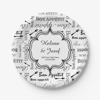 Vintage Food Lover's Wedding Wishes Bon Appetit 7 Inch Paper Plate