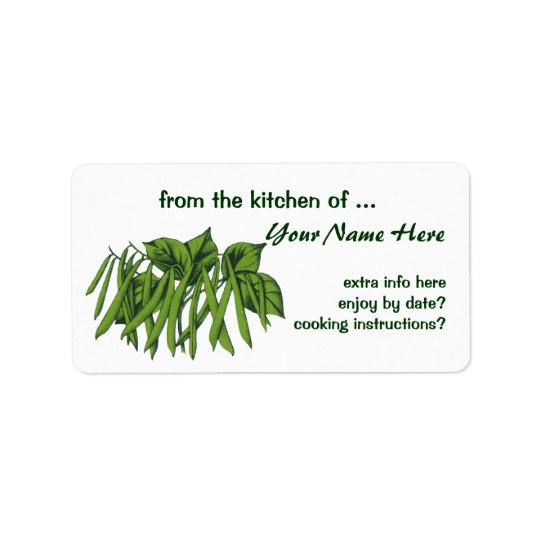 Vintage Food, Organic Green Beans Vegetables Address Label