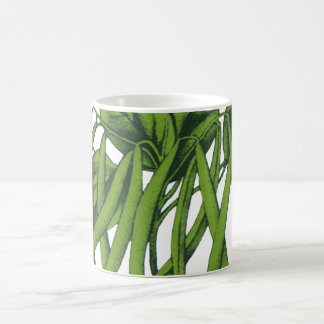 Vintage Food, Organic Green Beans Vegetables Basic White Mug