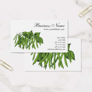 Vintage Food, Organic Green Beans Vegetables Business Card