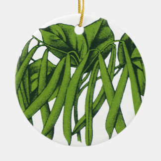 Vintage Food, Organic Green Beans Vegetables Christmas Ornament