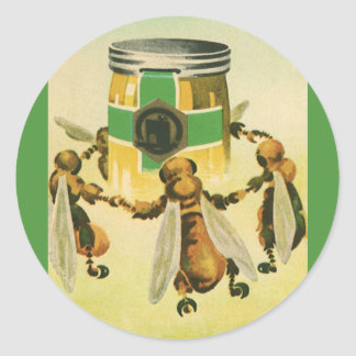 Vintage Food, Organic Honey Bees Dancing Jar Classic Round Sticker