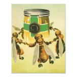 Vintage Food, Organic Honey Bees Dancing Jar Personalized Announcement