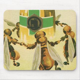 Vintage Food, Organic Honey Bees Dancing Jar Mouse Pad