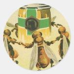 Vintage Food, Organic Honey Bees Dancing Jar Sticker
