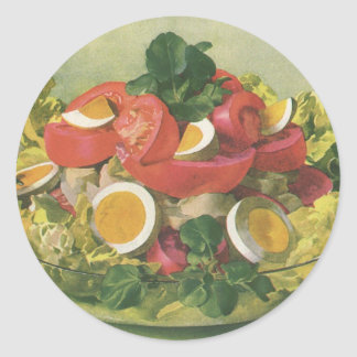 Vintage Food, Organic Mixed Green Mesclun Salad Classic Round Sticker