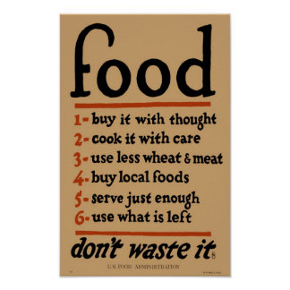 Vintage FOOD Poster Print - World War I Era