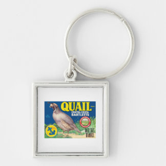 Vintage Food Product Label Silver-Colored Square Key Ring