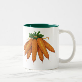 Vintage Food, Vegetables; Bunch of Organic Carrots Two-Tone Mug
