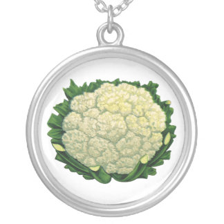 Vintage Food Vegetables Veggies Cauliflower Silver Plated Necklace