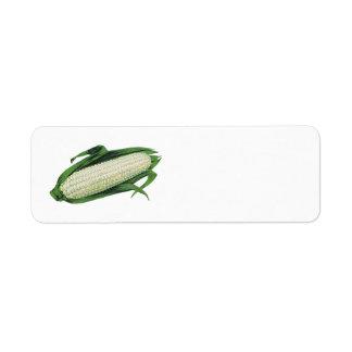 Vintage Food Vegetables White Corn on the Cob Return Address Label