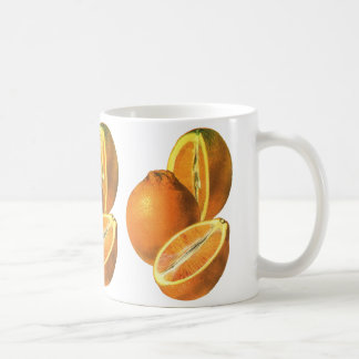 Vintage Foods, Fruit Organic Fresh Healthy Oranges Basic White Mug