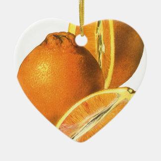 Vintage Foods, Fruit Organic Fresh Healthy Oranges Ceramic Heart Decoration