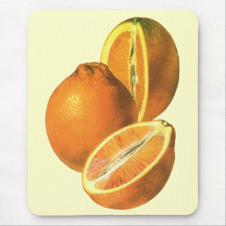 Vintage Foods, Fruit Organic Fresh Healthy Oranges Mouse Pad